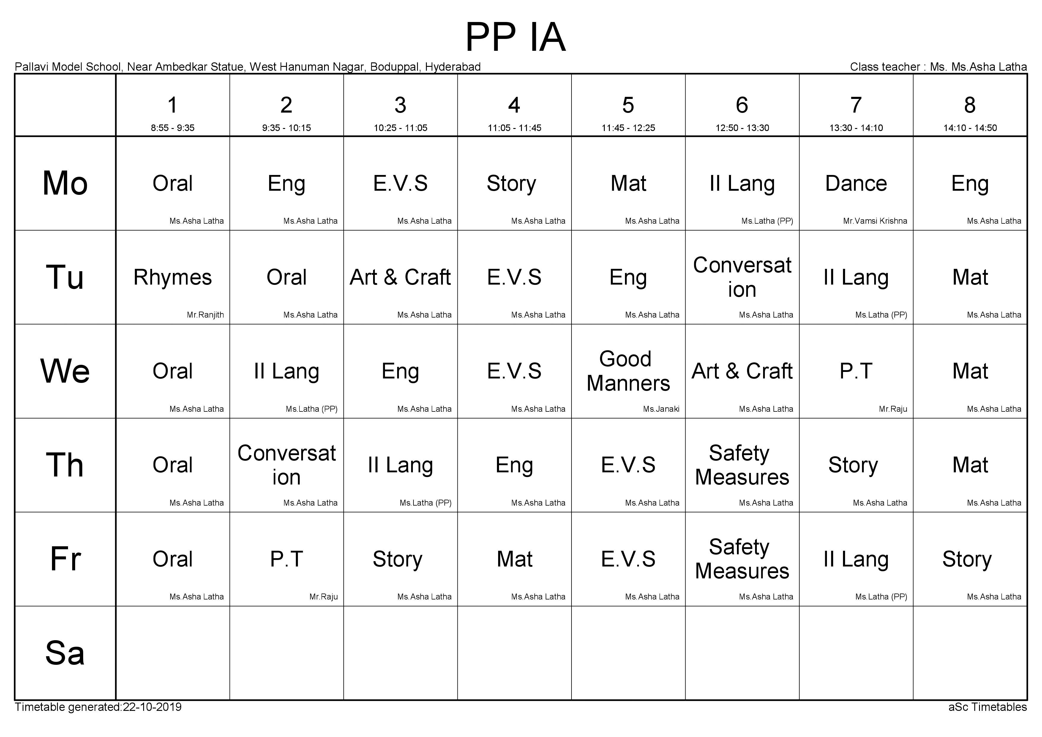 Time Table PP - 1A