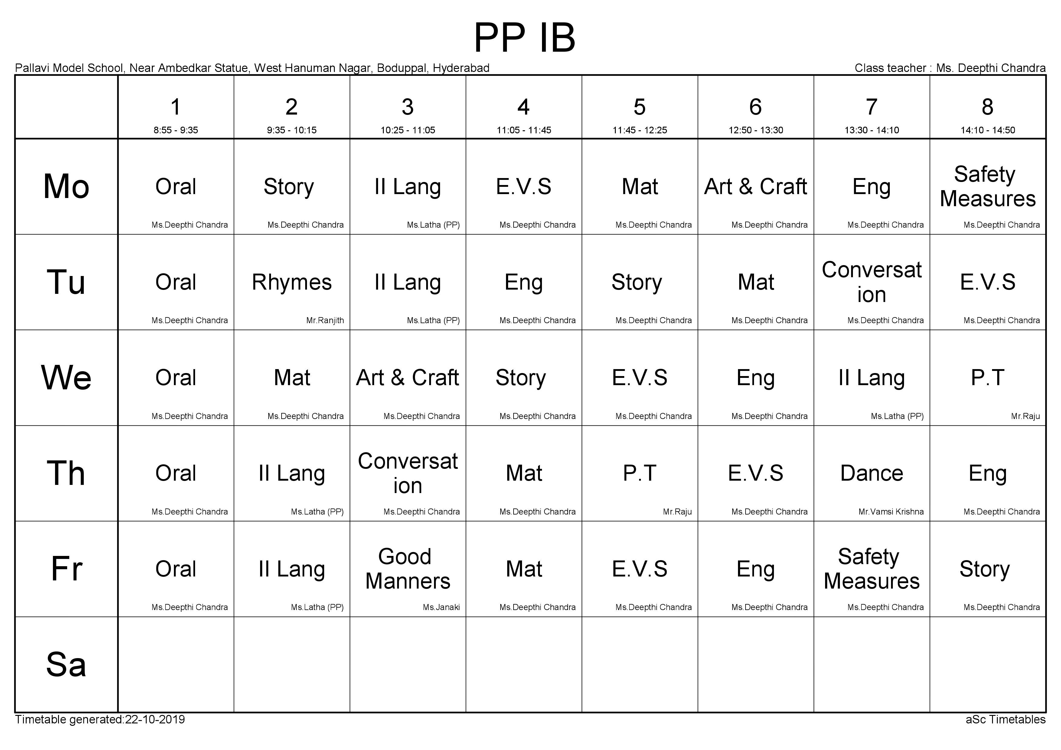 Time Table PP - 1B
